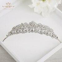 2016 Fashion Sparkling Crystal Brides Crown Headpieces Bride Crystal Hair Accessories