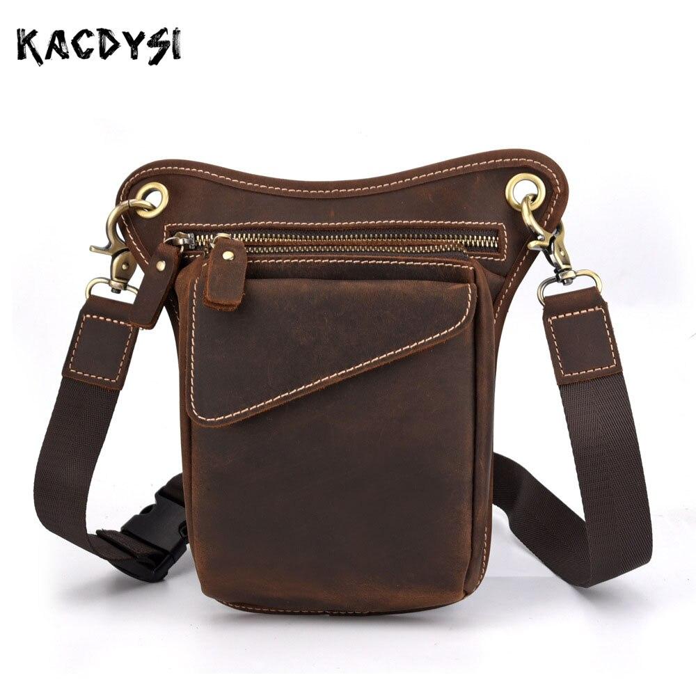 Crazy Horse Leather Vintage Mens Shoulder Bag Cowhide Vertical Chest Bags Multi functional Waist Pack Hip