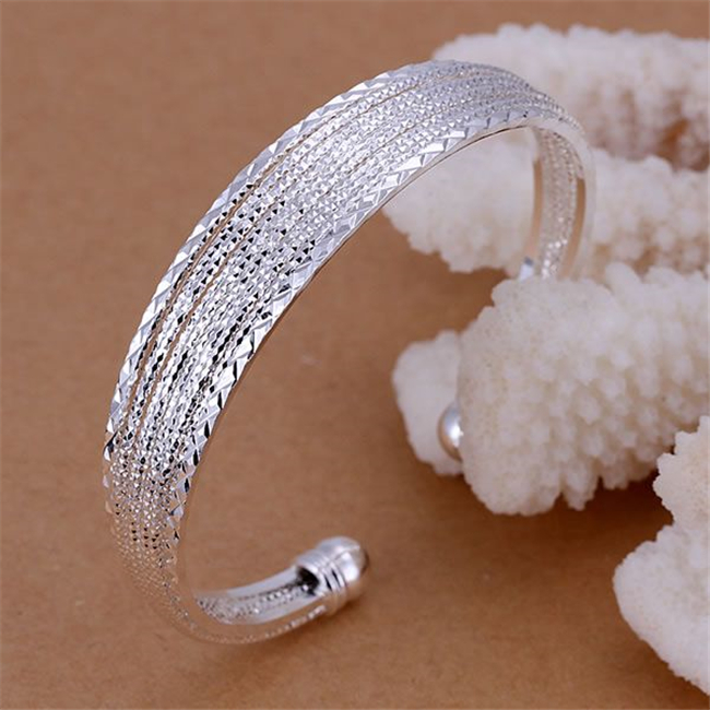 Kn-b145 Wholesale Silver Plated Bangle Bracelets Factory Price 925 Free Shipping New Arrival Fashion Jewelry Line Bangle Jewelry & Accessories Bangles