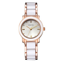 2016 Ladies Bracelet Ceramic Imitation Watches Clock Deluxe Gold with Fine League Strap Women Dress Watch