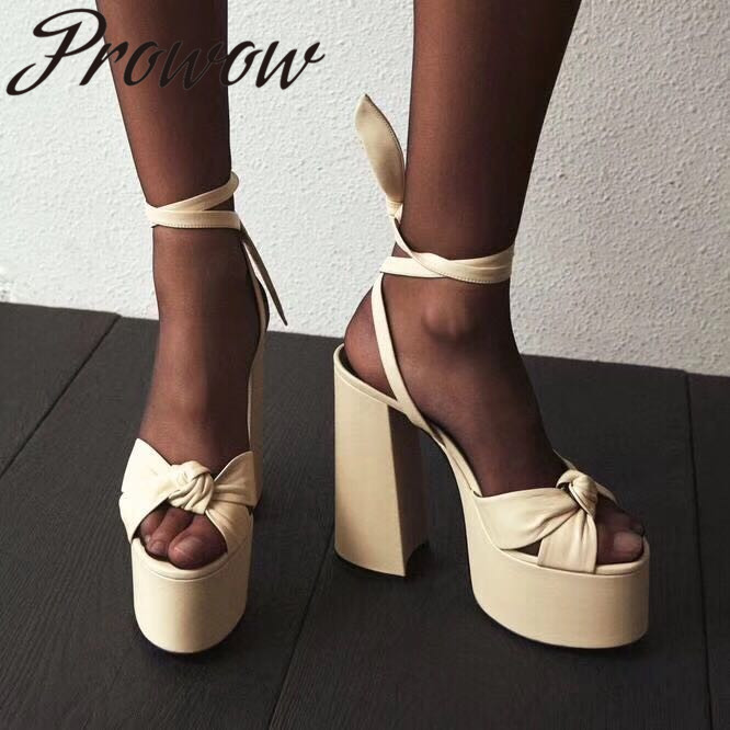 Prowow Genuine Leather Open Toe Gladiator Lace Up Summer Sandals Sexy Platform Thick Heel HIgh Heel Sandals Shoes Women Branded