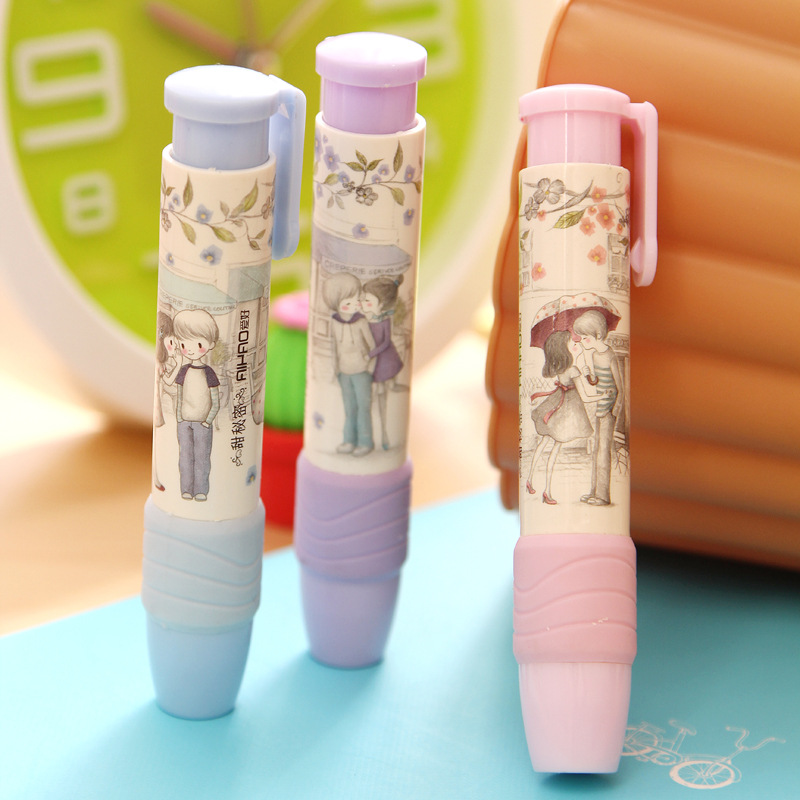 Cute Students Pen Shape Hand Press Eraser Rubber Pencil Kid Funny Stationery School Supplies Office Accessories Student Prize