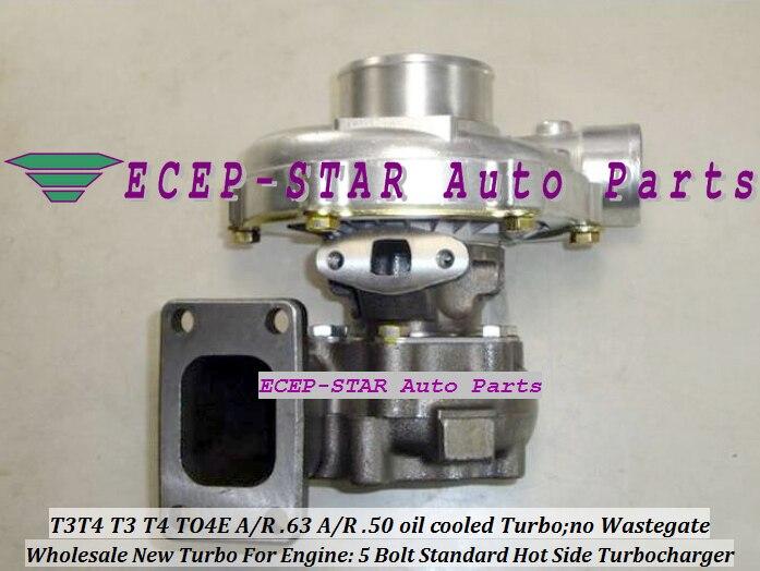 С водяным охлаждением T3T4 T3 T4 TO4E Универсальный турбо Турбокомпрессор 5 болт компрессор/r. 50 турбина a/R. 63 T3 фланец 300 400HP прокладки