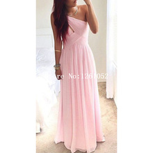 Elegant Pink One Shoulder Ruched Bodice  Floor Length Bridesmaid Dresses With Keyhole Detail