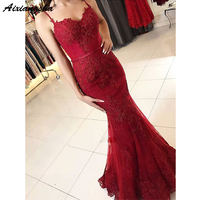 Popular New Style Sweetheart Spaghetti Straps Appliques vestido fiesta Red Prom Dress Lace Mermaid Long Evening Prom Dresses