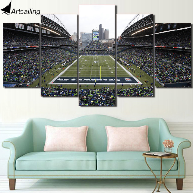 HD Printed 5 Piece Canvas Art Seattle Seahawks Football Game Canvas Wall Art Painting Wall Pictures for Living Room ny-7461C