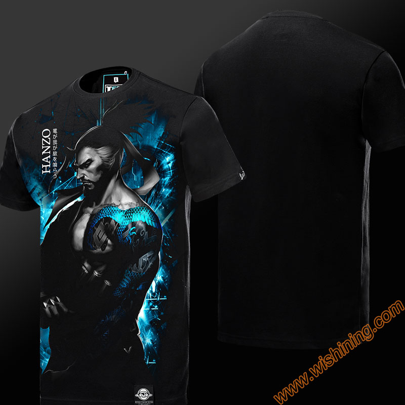 Darkness OW Hanzo T-shirt Short Sleeve Black Mens Tshirt Mens Boys Plus Size 3XL 4XL OW Hanzo Tee