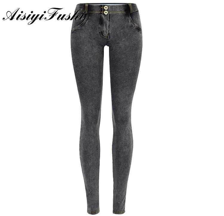 AISIYIFUSHI נמוך מותן במצוקה ג 'ינס אישה למתוח סקיני לדחוף למעלה ג' ינס אפור Slim ג 'ינס מכנסיים נשים הרמת ישבן עיפרון ג' ינס
