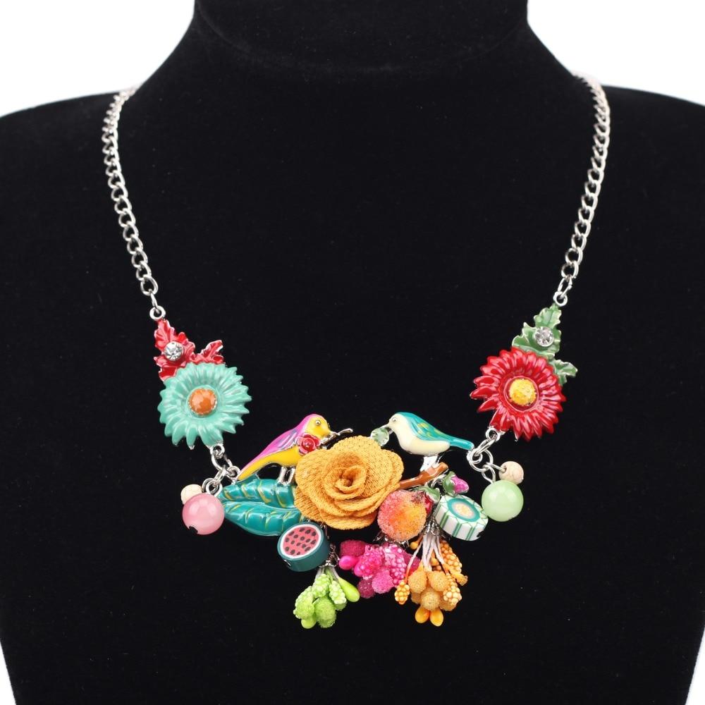 Bonsny Pernyataan Choker Enamel Bunga Kalung Paduan Burung Logam - Perhiasan fashion - Foto 6