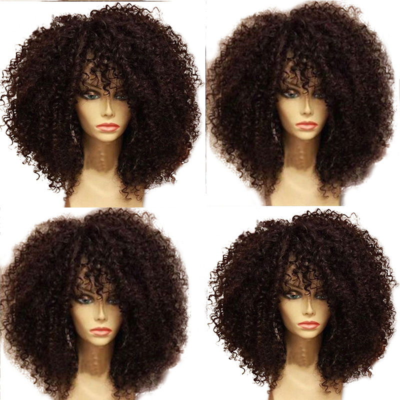 Simebeaut 250 Density Kinky Curly Lace Front Human Hair Wigs With Baby Hair Pre Plucked Brazilian Remy Short Bob Hair Fringe Wig