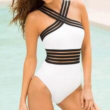 Bikini de una pieza con realce para mujer, traje de baño Bandage con cuello cruzado en la espalda, Monokini para playa #4