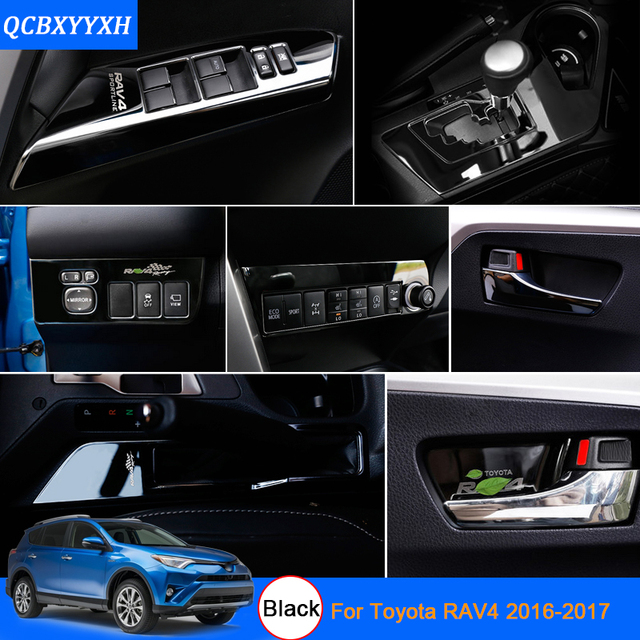 Car Styling Black Color For Toyota Rav4 2016 2017 Interior Decoration Sequins Inner Door Bowl Stickers Sticker