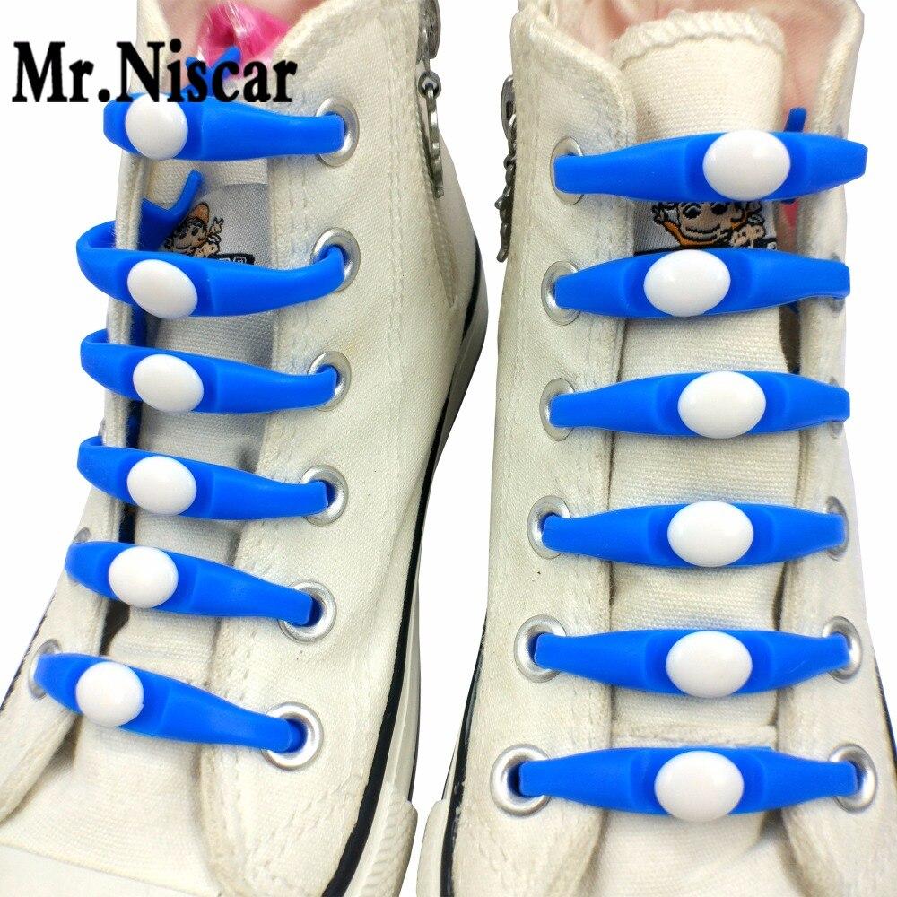 Mr.Niscar 1Set/12Pcs 16 Colors No Tie Shoelaces Elastic Silicone Shoe Lace for Men Women All Sneakers Silica Gel Lazy Shoelaces