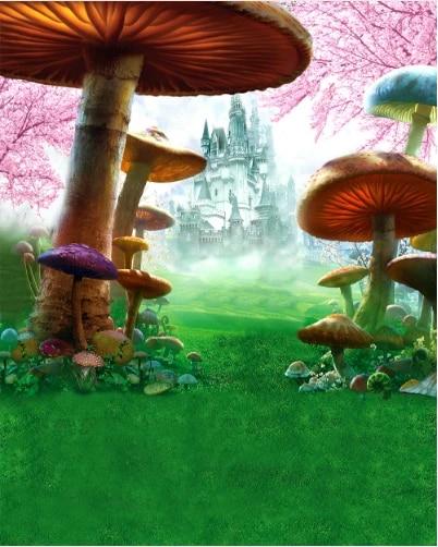 5x7ft Cartoon Castle Mushroom Photography Background Computer-Printed Vinyl Backdrops