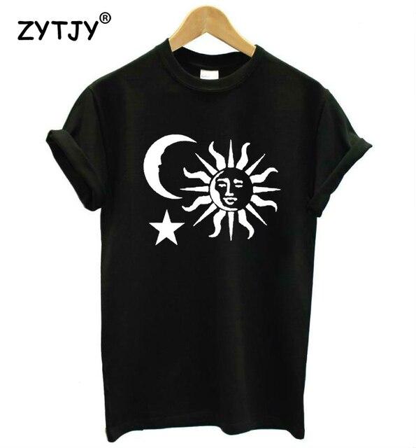 03d646f9e Sol lua estrela impressão mulheres camiseta de algodão casuais camisa  engraçada de t para a menina