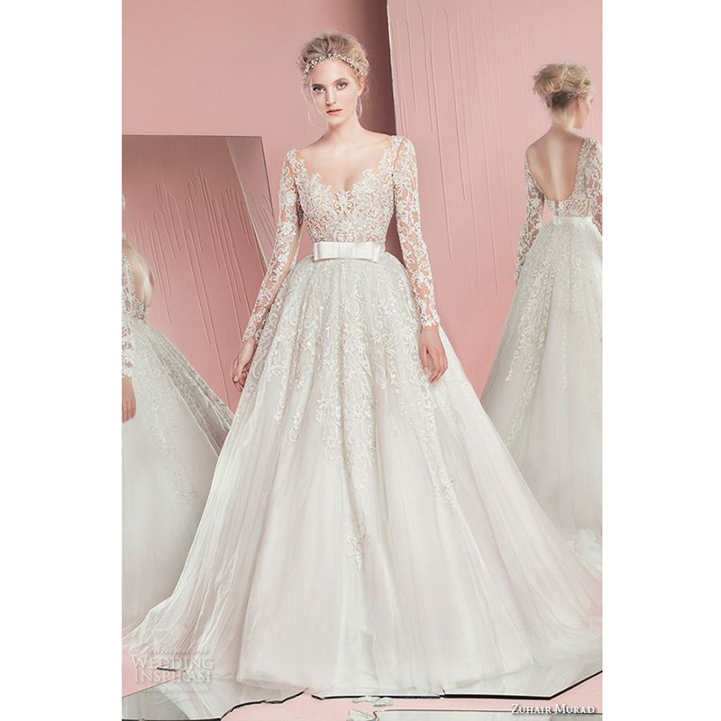 Wedding Gowns With Ruffles: Bridal Spring 2016 Wedding Dresses Long Sleeves Appliqued