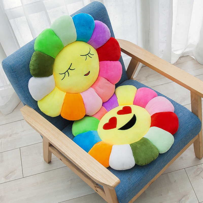 35cm Round Cushion Colorful Sun Flower Embroidered Empression Cushion Cute Cartoon Thick Plush Cushion Sofa Chair Car Seat Pad