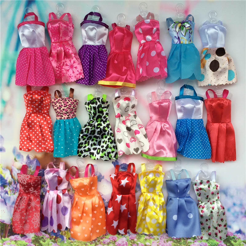 10pcs Mix Sorts Handmade Girl Doll Mini Party Dress Fashion Clothes For Barbie Doll Kid Toys Gift Play House Dressing Up Costume american girl doll clothes halloween witch dress cosplay costume for 16 18 inches doll alexander dress doll accessories x 68