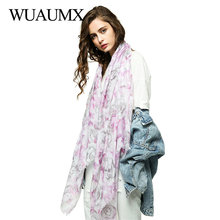 Wuaumx Spring Hijab Scarf Women Rose Pattern Ladies And Wraps Head Scarves Thin Long Neckerchief Shawl Drop Shipping
