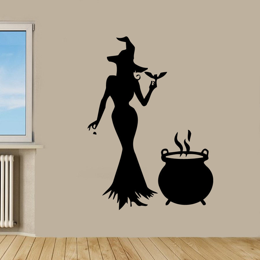 Buy halloween sticker witch car decal for Decoration de porte halloween