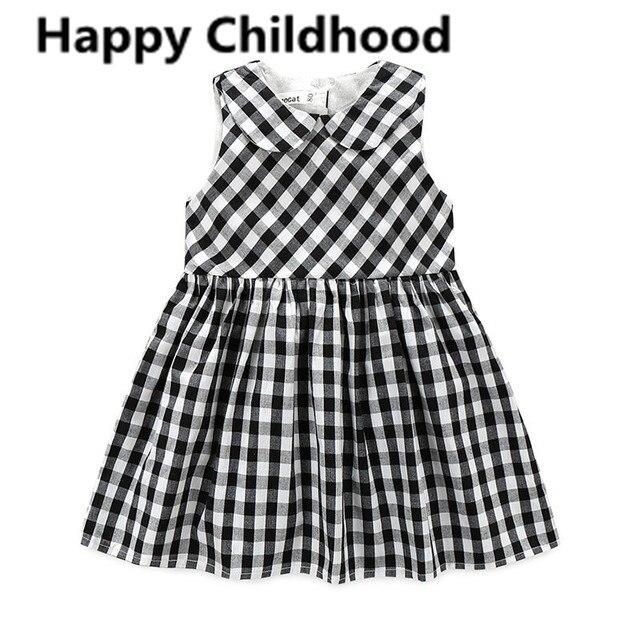 b37ae08c0 2017 Summer Plaid Baby Girl Dress 1 year birthday dress vestido ...