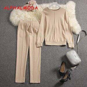 Image 3 - ALPHALMODA 2019 סתיו חדש הגעה נשים אימוניות באיכות של ארוך שרוולים סוודר מכנסיים 2pcs סט מוצק אופנה חליפה