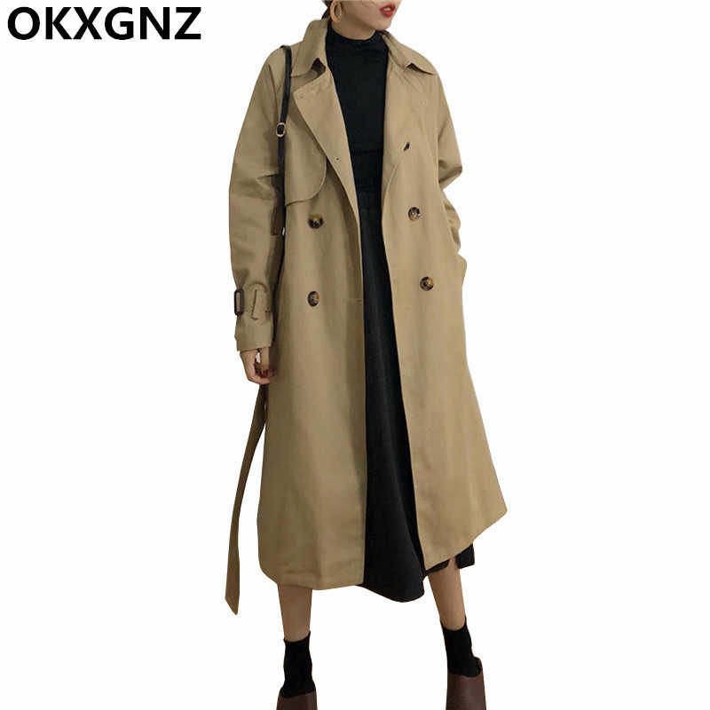 Classic Khaki Double Breasted Long Trench Coat Women 2019 New Oversized Loose Female Windbreaker With Belt Lining Outerwear M83