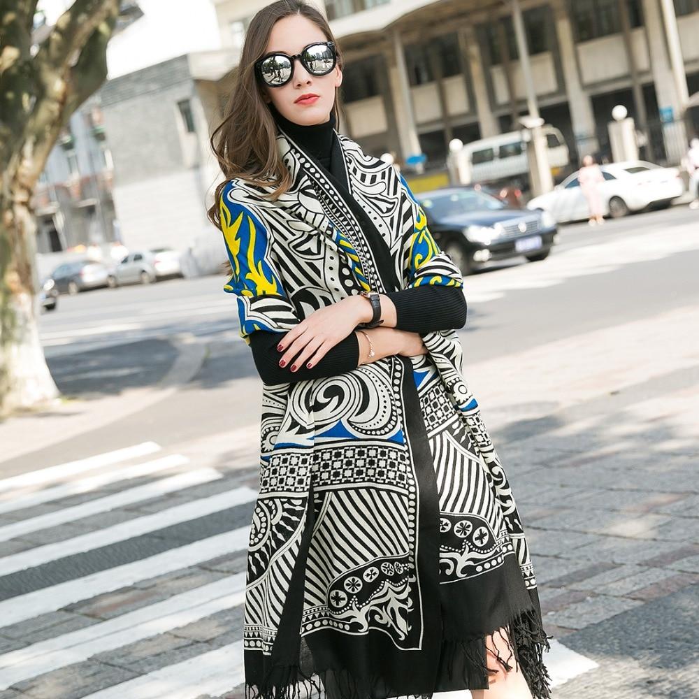 겨울 럭셔리 브랜드 격자 무늬 캐시미어 스카프 여성 대형 담요 스카프 포장 긴 양모 스카프 여성 Pashmina Shawls과 스카프