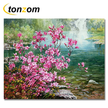 RIHE Plum Waterfall Drawing By Numbers Flower Pond DIY Painting Handwork On Canvas Oil Wall Art Coloring Home Decor