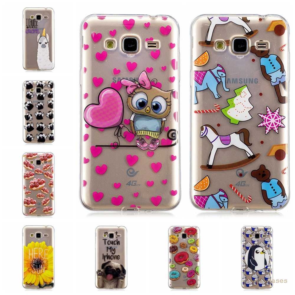 Luxury Soft Silicone TPU phone case For Samsung <font><b>J3</b></font> <font><b>2016</b></font> J310 phone cover lovely unicorn owl panda Painted cases fundas image