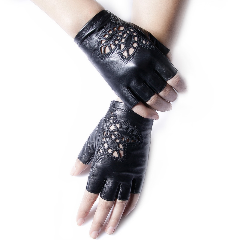 Genuine Leather Gloves Female Semi-Finger Sunscreen Motorcycle Half Finger Gloves Women Short Design Spring And Autumn Thin G154
