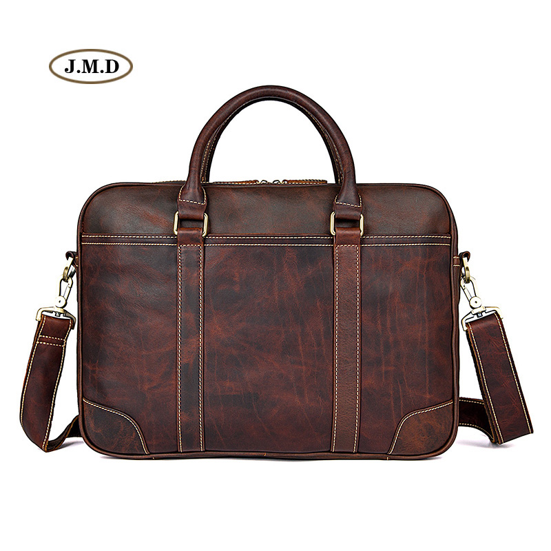 J.M.D High Quality Brown Real Leather Office Briefcase Business Handbag Travel Bag Portable Business Laptop Handbag 7349QJ.M.D High Quality Brown Real Leather Office Briefcase Business Handbag Travel Bag Portable Business Laptop Handbag 7349Q