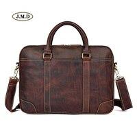 J.M.D High Quality Brown Real Leather Office Briefcase Business Handbag Travel Bag Portable Business Laptop Handbag 7349Q