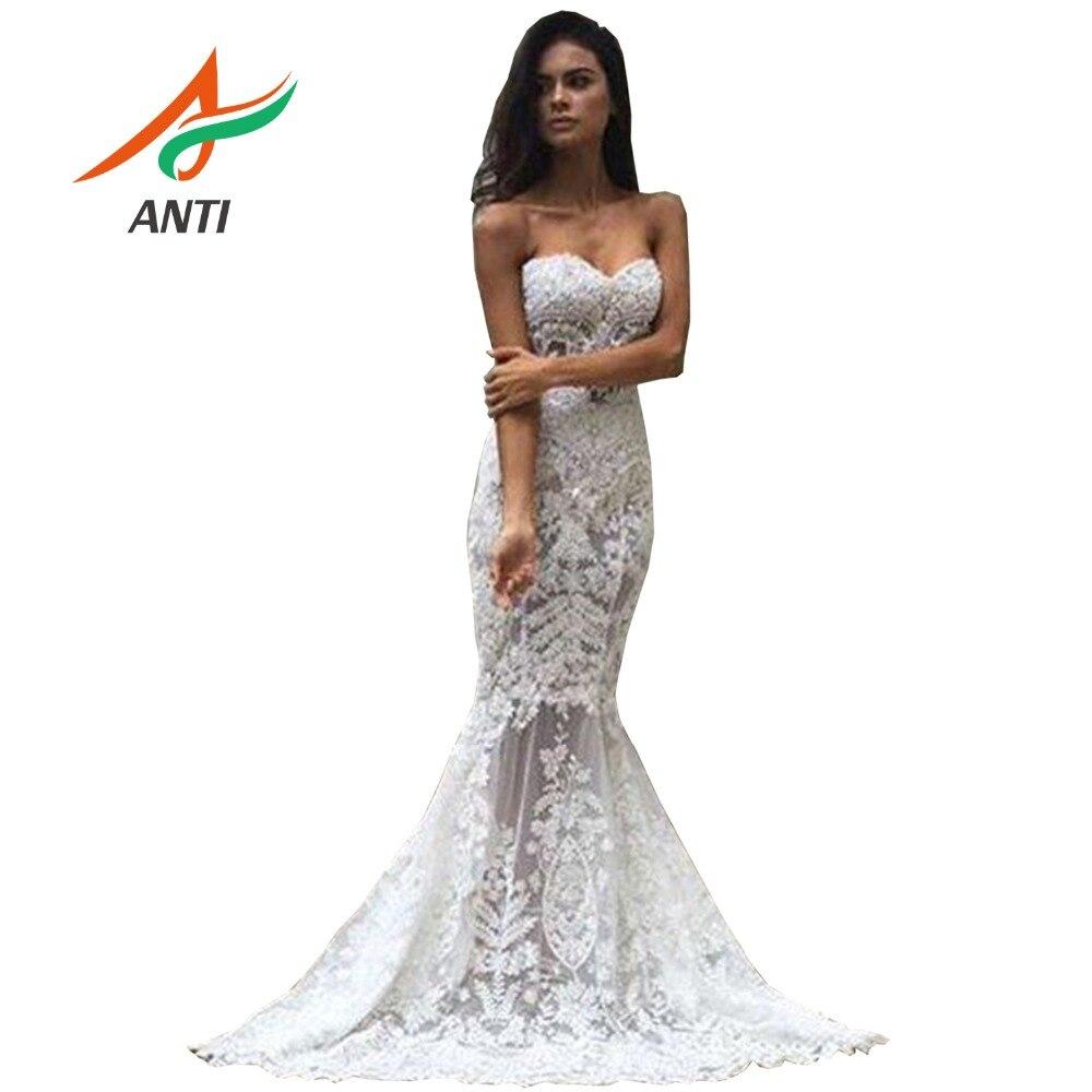 ANTI Shiny Beading Luxury Crystal Pearls Wedding Dress