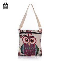 RoseDiary Owl Elephant Printing Weaving Cloth Handbags Large Capacity Shoulder Bag Shopping Beach Bags Women Girl
