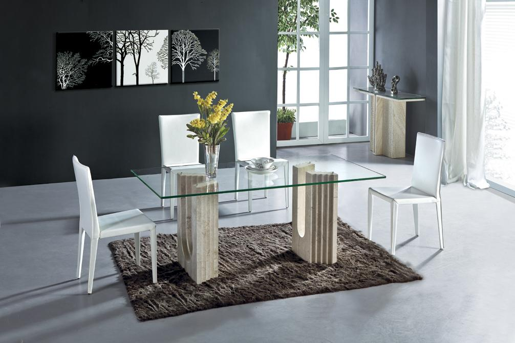 White Travertine Dining Table Set Luxury High Quality Natural Stone Marble Furniture Rectangle NB