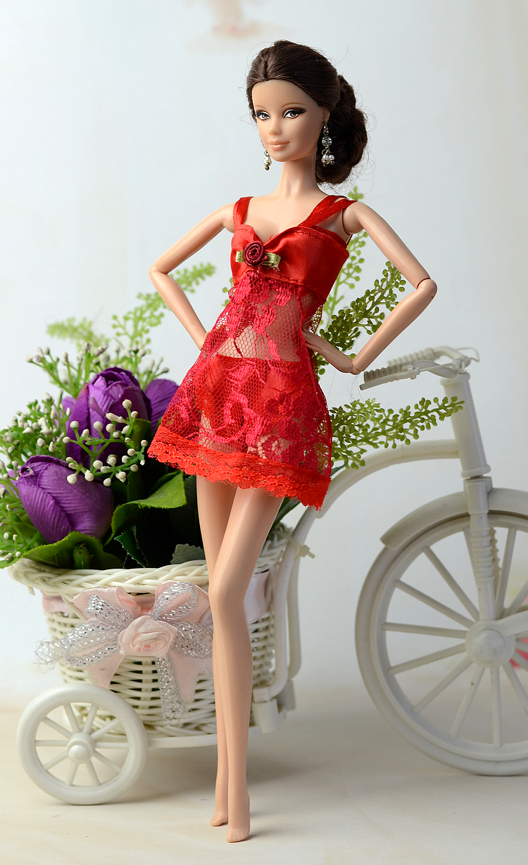 NK One Set Doll outfit Red Pajamas +Underwear +Bra Sexy Lace Dress Clothes For Barbie Dolls Best Christmas Gift For Child 003D