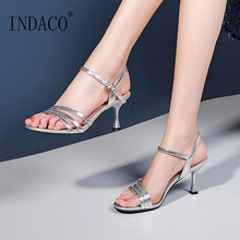 купить Summer Sandals Women Party Shoes Silver Sexy High Heel Shoes Ladies Thin Heel Sandals Bling по цене 2963.47 рублей