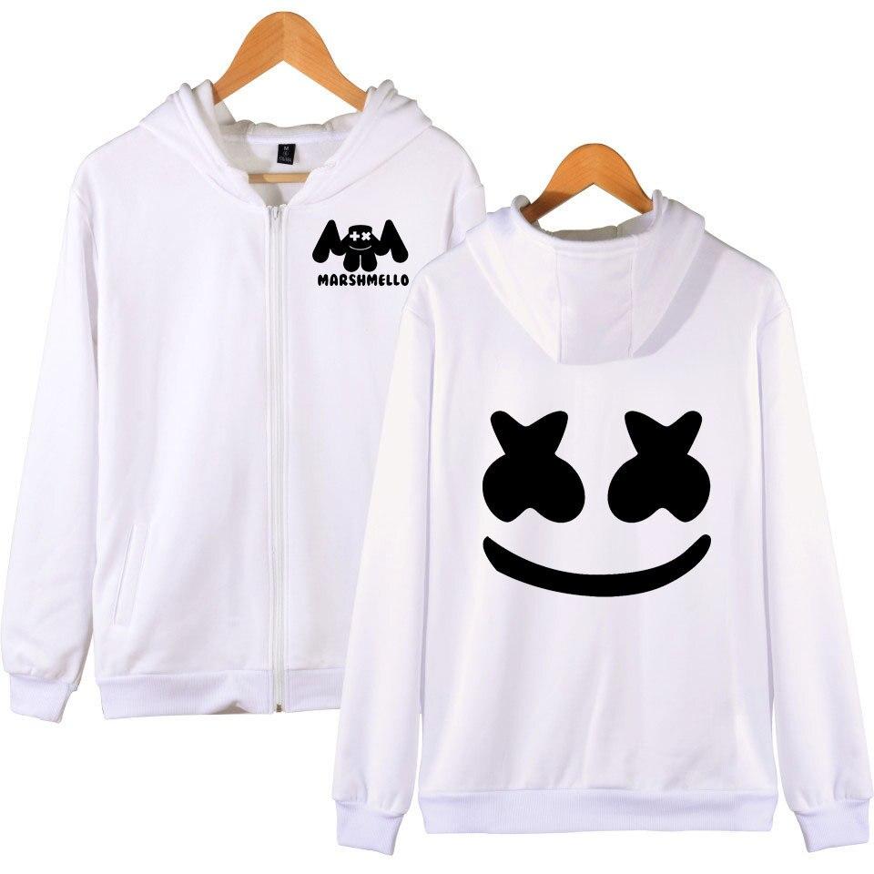 DJ Marshmello Smiley Face Print Couple Hoodies Hip Hop Streetwear Hooded Sweatshirt Men & Women Zipper Jacket Sudaderas Hombre