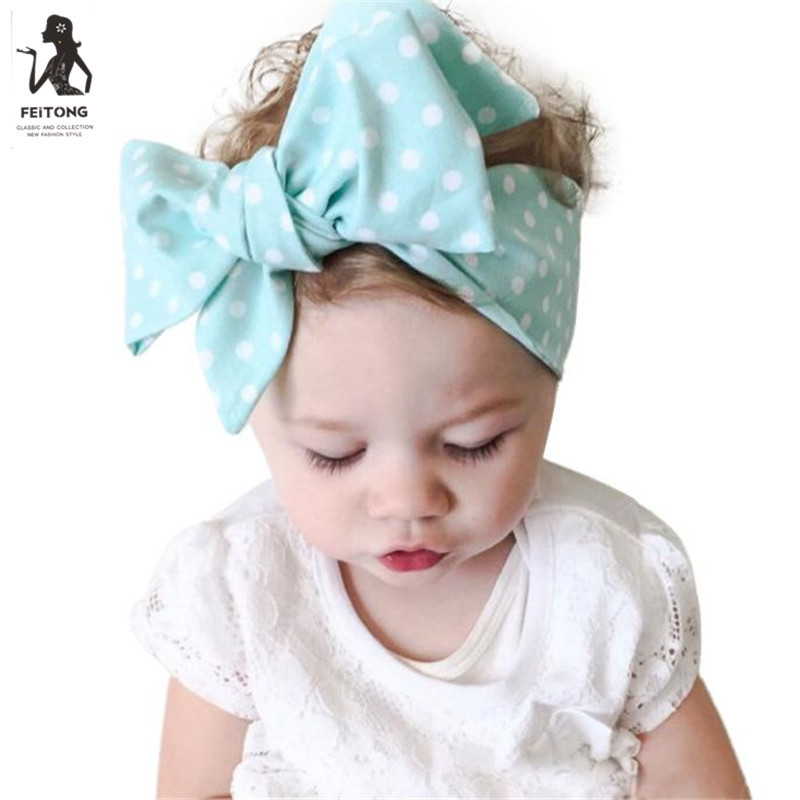 Feitong Cute Kids Headband Bandeau Bebe Dot Printing Hair Elastic Bands Tiaras Children's Hair Accessories for Girls