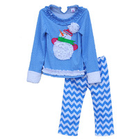 Christmas Stylish Baby Clothing Girl Boutique Sets Chevron Pants Snowman Deco Shirts Kids Christmas Outfits Costume C031