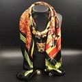 100*100 CM Bufanda Cuadrada Collar Colgante Cabeza del Leopardo Impresa de Las Mujeres Bufandas Imitación de Lujo Joya Femenina Foulard Femme S2