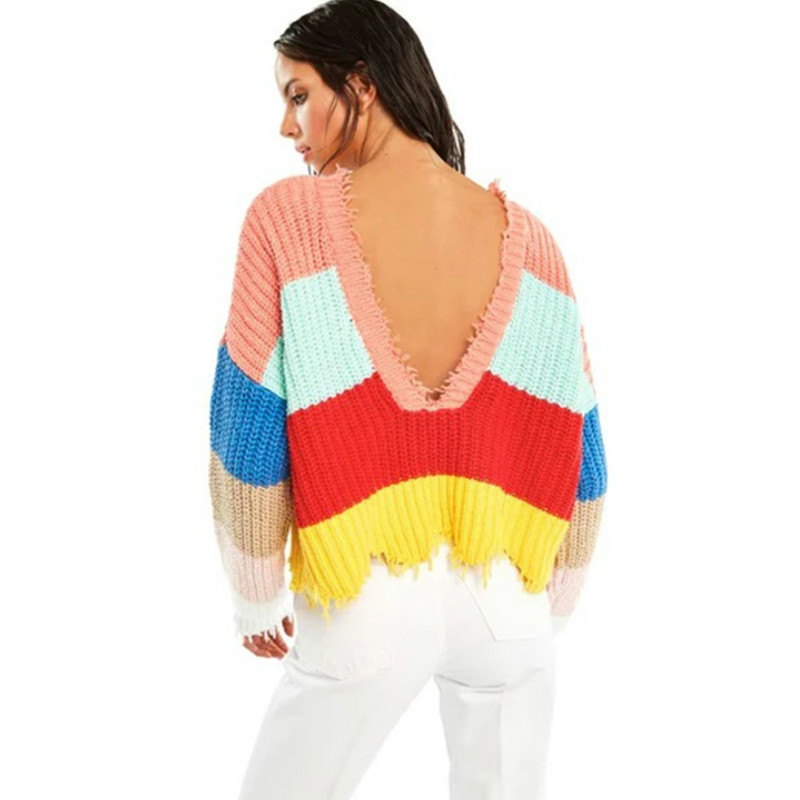 8358ef956a Sexy Rainbow Color Striped Pullovers Women Fringed Deep V neck Sweater  Jumper Crop Autumn Knit Shirts Long Lantern Sleeved Tops-in Pullovers from  Women s ...