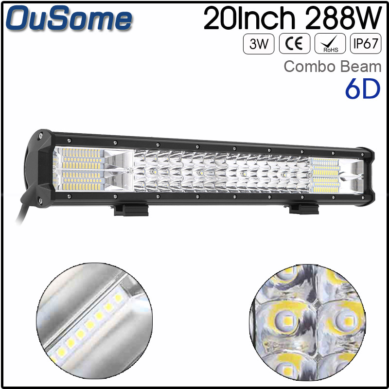 20 INCH 288w double rows 4X4 offroad car LED Light Bar waterproof Combo Beam 12v 24v auto truck led light bar