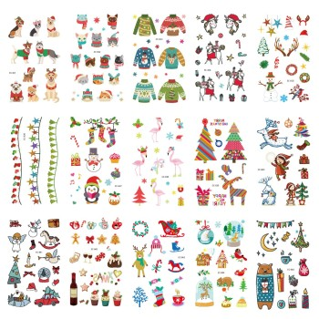 15pcs Christmas Gift Temporary Tattoo Sticker for Body Art Cartoon Water Transfer Flash Tattoo Fake Tatoo for Kid Child Tattoos waterproof temporary tattoo sticker 10 5 6 cm dragon tattoo water transfer fake tattoo flash tattoos for men women 422