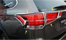 Lapetus Car Styling Chrome Rear Tail Lights Lamp Frame Cover Trim Kit Fit For Mitsubishi Outlander 2016 2017 2018 / ABS for mitsubishi outlander 2016 2017 2018 car body cover protect detector sticks frame lamp trim abs chrome car door handle 8pcs