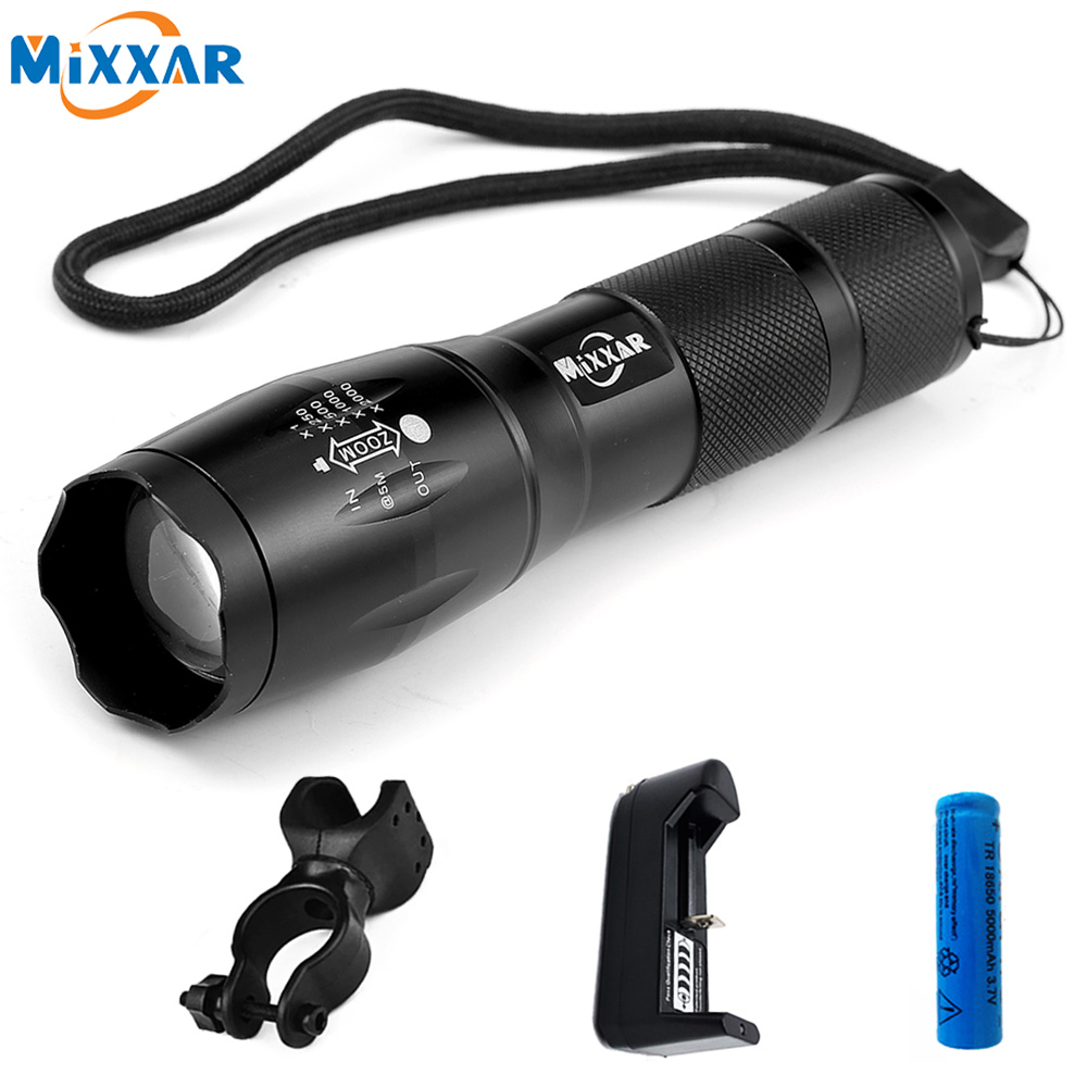 MTB XM-L T6 8000LM Aluminum LED Bike Bicycle Flashlight 5 Mode Zoomable cree Flashlight Torch for 18650 or AAA Battery