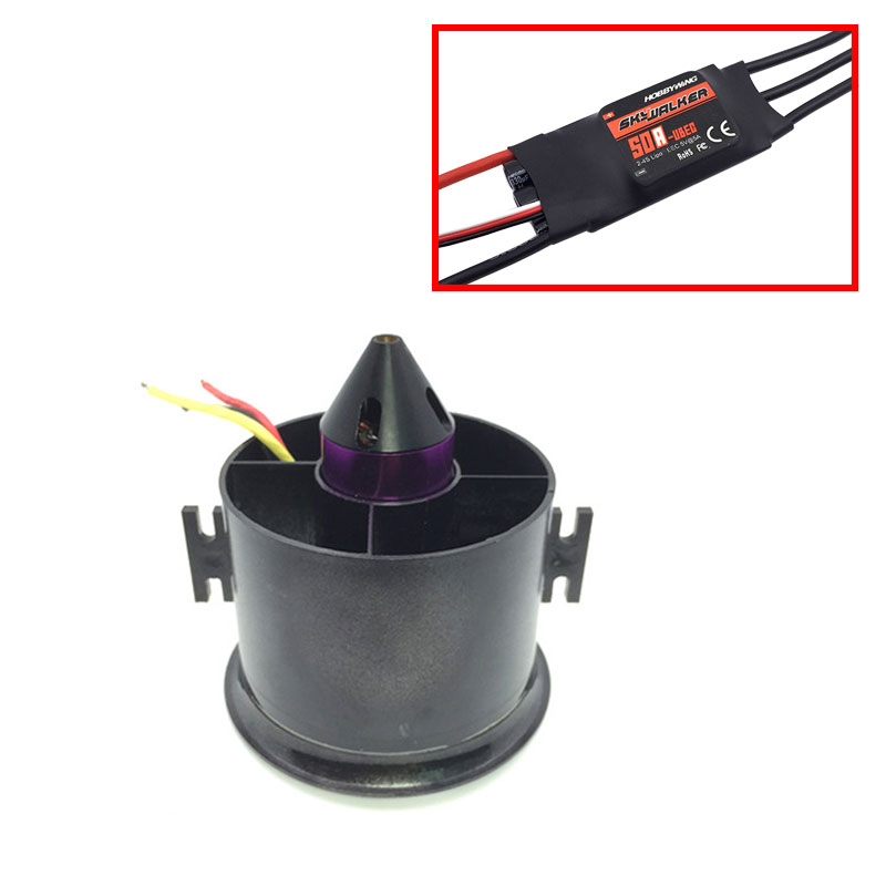 цена на QX-MOTOR 70mm 6 Blades Ducted Fan EDF With 2839 3200KV Motor Brushless With 50A esc For RC Airplane Model Parts