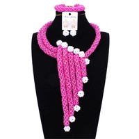 Sparking African Wedding Jewellery Set Bridal Jewelry With White Balls Nigerian Necklace Sets For Women Free Shipping 2018 New