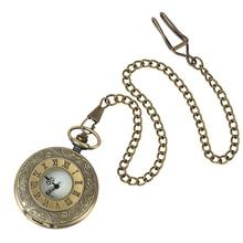 Vintage Bronze Steampunk Pocket Watch Quartz Necklace Pocket & Fob Watches Chain Men Women Clock vintage bronze deer mehcanical pocket watch men steampunk hollow unisex skeleton fob hand watch chain neckalce black watch gift